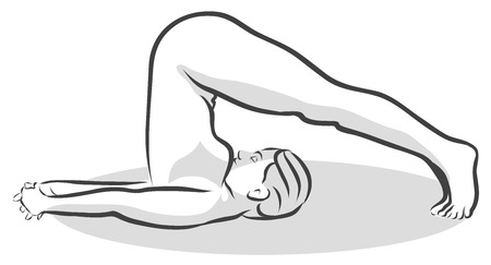 plow: Hand Drawn Halasana Plow Pose, Yoga Woman. Vector Outline Illustration.
