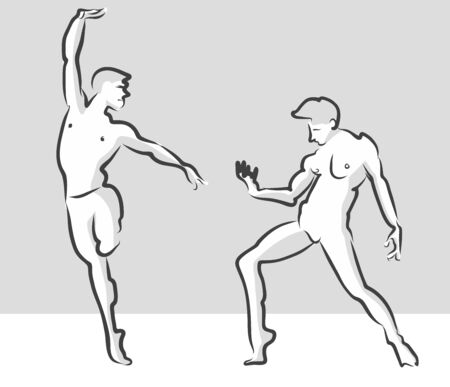 free hand: Expressive Ballet Gesuture Pose, Russian Theater Sketch, Free Hand Drawn Vector Halftone Artwork
