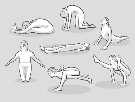 intermediate: Seven Various Easy and Intermediate Yoga Poses, Free Hand drawn vector halftone Sketch