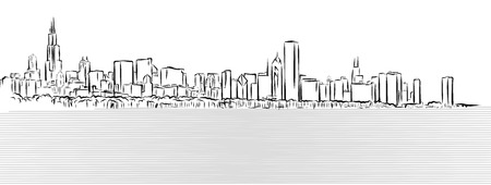 lake district: Chicago Outline Sketch with Michigan Lake in Foreground, Hand Drawn Vector Illustration Illustration