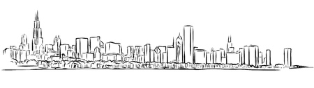 Chicago Skyline Outline Sketch Hand Drawn Vector Illustration  イラスト・ベクター素材