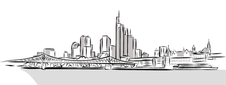 Toronto Downtown Outline Sketch. Hand Drawn Vector Illustration.
