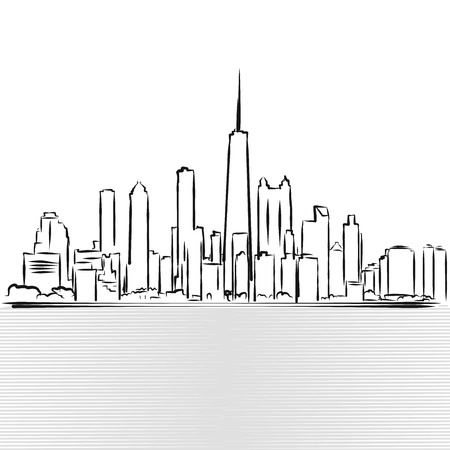 Chicago Skylinie Sketch. View from Michigan Lake, Hand Drawn Vector Illustration 向量圖像