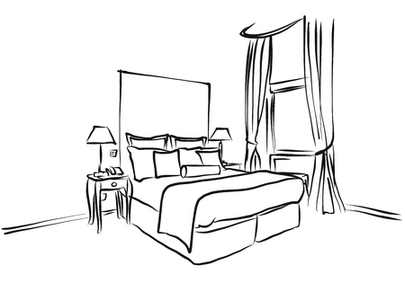 king size: Hotel Room King Size Bed, Interior Coloring Page, Hand Drawn Sketch Outline,