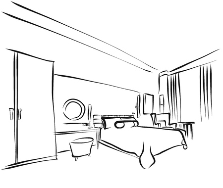 hotel room: Hotel Room Interieur Coloring Page, Hand Drawn Outline Sketch,