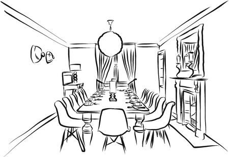 Esquema de la sala de estar Backround Sketch, Página para colorear Ilustración de vector