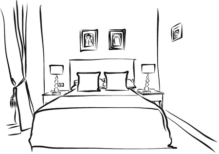 hotel room: Hotel Room Interior Hand Drawn Sketch Outline,