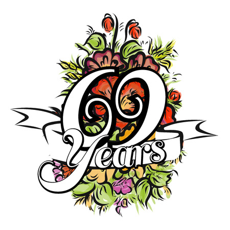 69 Jahre mit schönen Blumenstrauß, Grußkarte, Hand gezeichnete Grafik Illustration