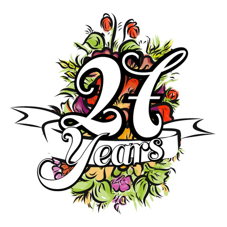 27: 27 Years with nice bouquet of flowers, Greeting Card Design, Hand Drawn Artwork Illustration