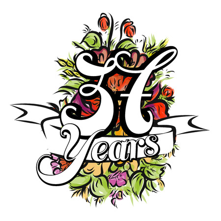 flower age: 37 Years with nice bouquet of flowers, Greeting Card Design, Hand Drawn Artwork