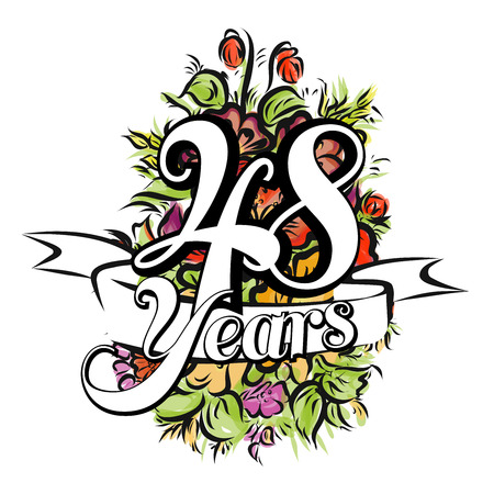 48: 48 Years with nice bouquet of flowers, Greeting Card Design,  Hand Drawn Artwork