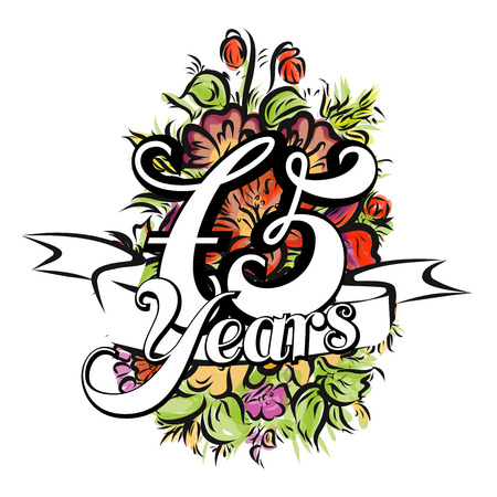 flower age: 75 Years with nice bouquet of flowers, Greeting Card Design, Hand Drawn Artwork Illustration