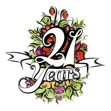 21 Years with nice bouquet of flowers, Greeting Card Design,  Hand Drawn Artwork