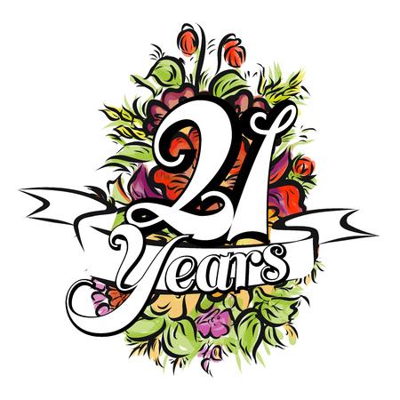 21 jaar met mooi boeket bloemen, wenskaartontwerp, met de hand getekend kunstwerk