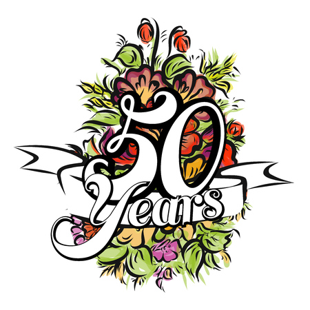 50 Years with nice bouquet of flowers, Greeting Card Design, Hand Drawn Artwork 向量圖像