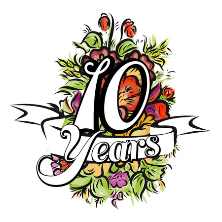 ten years jubilee: 10 Years with nice bouquet of flowers, Greeting Card Design, Hand Drawn Artwork Illustration