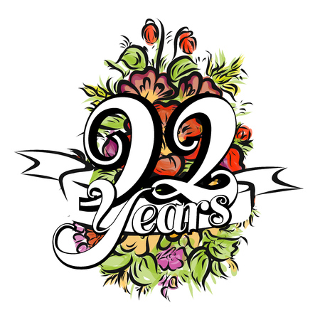 92: 92 Years with nice bouquet of flowers, Greeting Card Design, Hand Drawn Artwork
