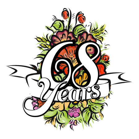 gold age: 68 Years with nice bouquet of flowers, Greeting Card Design, Hand Drawn Artwork Illustration
