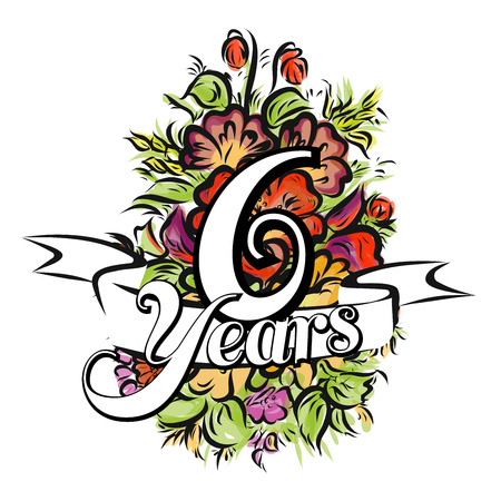 happy anniversary: 6 Years with nice bouquet of flowers, Greeting Card Design, Hand Drawn Artwork