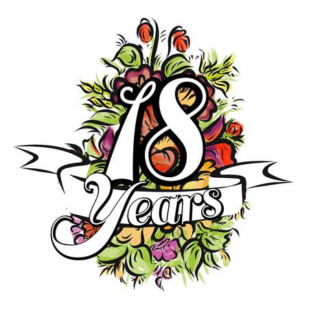 18 Jaar met mooi boeket van bloemen, Wenskaart ontwerp, met de hand getrokken kunstwerk Stock Illustratie