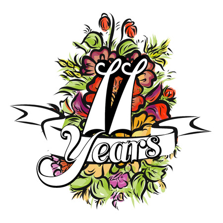 11 years: 11 Years with nice bouquet of flowers, Greeting Card Design, Hand Drawn Artwork