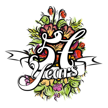 57: 57 Years with nice bouquet of flowers, Greeting Card Design, Hand Drawn Artwork Illustration