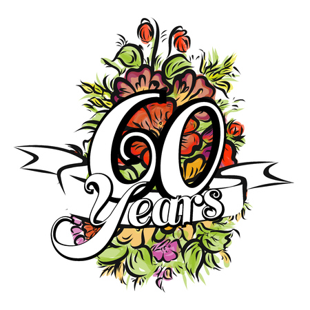 60 years: 60 Years with nice bouquet of flowers, Greeting Card Design, Hand Drawn Artwork