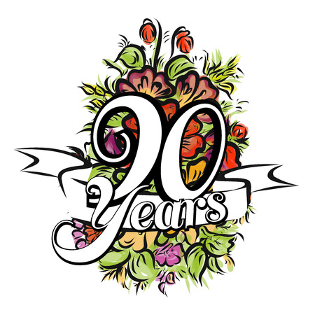 90 years: 90 Years with nice bouquet of flowers, Greeting Card Design, Hand Drawn Artwork