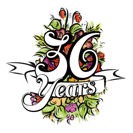 number 36: 36 Years with nice bouquet of flowers, Greeting Card Design, Hand Drawn Artwork
