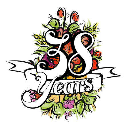 38: 38 Years with nice bouquet of flowers, Greeting Card Design, Hand Drawn Artwork Illustration
