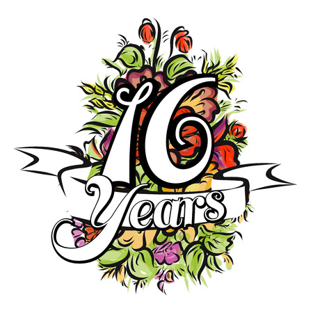 16 years: 16 Years with nice bouquet of flowers, Greeting Card Design, Hand Drawn Artwork