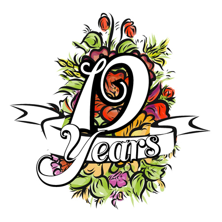 19 years: 19 Years with nice bouquet of flowers, Greeting Card Design, Hand Drawn Artwork