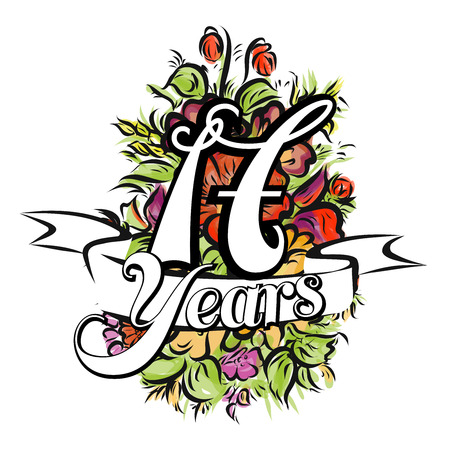 17 years: 17 Years with nice bouquet of flowers, Greeting Card Design, Hand Drawn Artwork