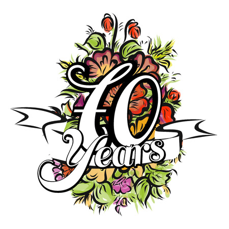 70 years: 70 Years with nice bouquet of flowers, Greeting Card Design, Hand Drawn Artwork Illustration