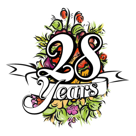 flower age: 28 Years with nice bouquet of flowers, Greeting Card Design, Hand Drawn Artwork