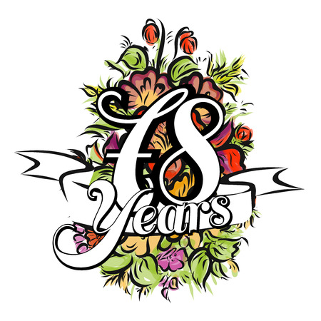 gold age: 78 Years with nice bouquet of flowers, Greeting Card Design, Hand Drawn Artwork