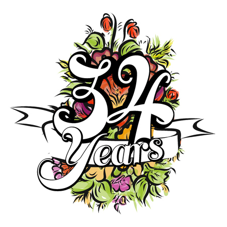 34: 34 Years with nice bouquet of flowers, Greeting Card Design, Hand Drawn Artwork