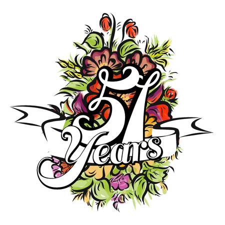 51: 51 Years with nice bouquet of flowers, Greeting Card Design, Hand Drawn Artwork
