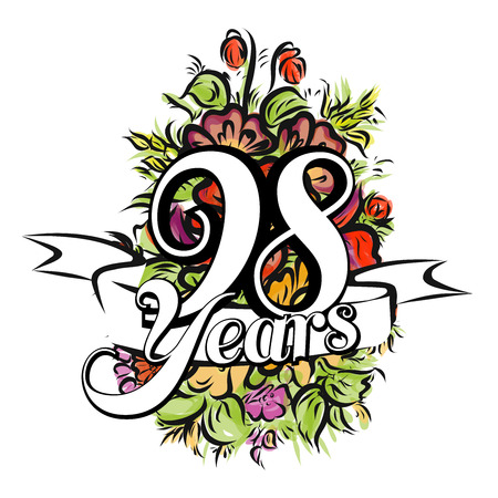 flower age: 98 Years with nice bouquet of flowers, Greeting Card Design, Hand Drawn Artwork