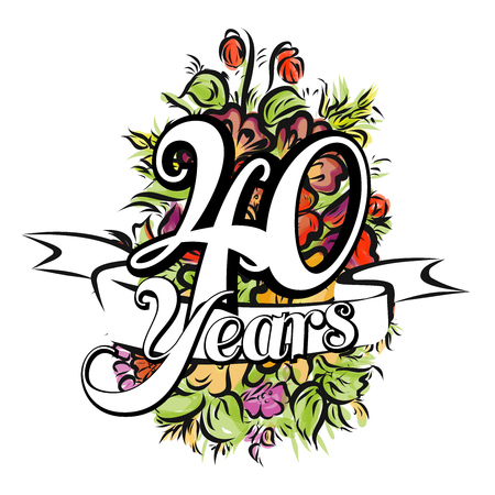 40 years: 40 Years with nice bouquet of flowers, Greeting Card Design, Hand Drawn Artwork
