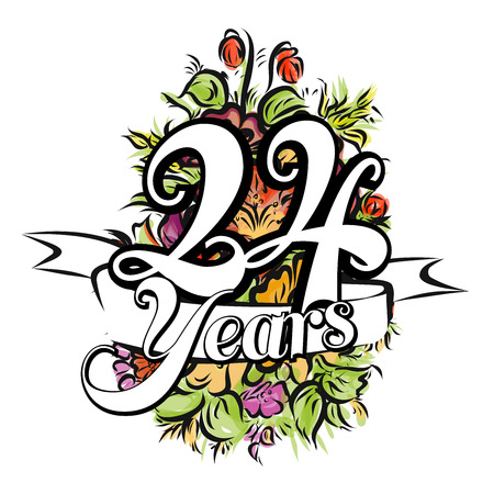 24 Years with nice bouquet of flowers, Greeting Card Design, Hand Drawn Artwork