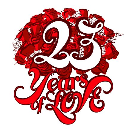 23: 23 Years of Love with nice bouquet of roses, Invitation Card Design, Hand Drawn Vector Artwork Illustration