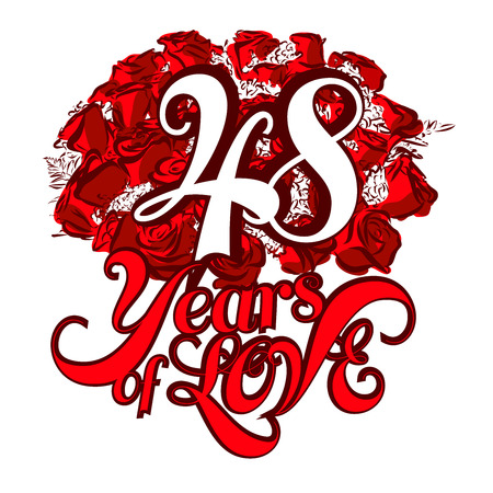 48: 48 Years of Love with nice bouquet of roses, Invitation Card Design, Hand Drawn Vector Artwork