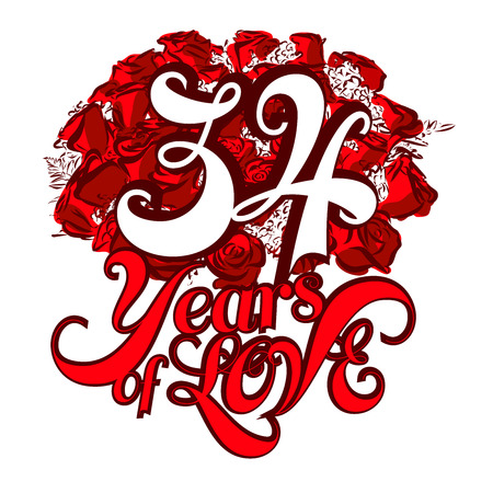 34: 34 Years of Love with nice bouquet of roses, Invitation Card Design, Hand Drawn Vector Artwork