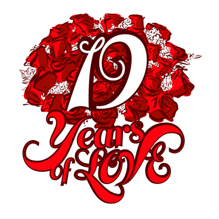 19 years: 19 Years of Love with nice bouquet of roses, Invitation Card Design, Hand Drawn Vector Artwork Illustration