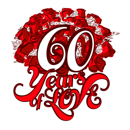 60 years: 60 Years of Love with nice bouquet of roses, Invitation Card Design, Hand Drawn Vector Artwork