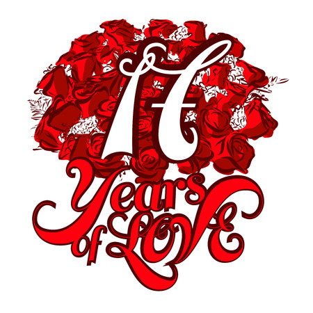 17 years: 17 Years of Love with nice bouquet of roses, Invitation Card Design, Hand Drawn Vector Artwork