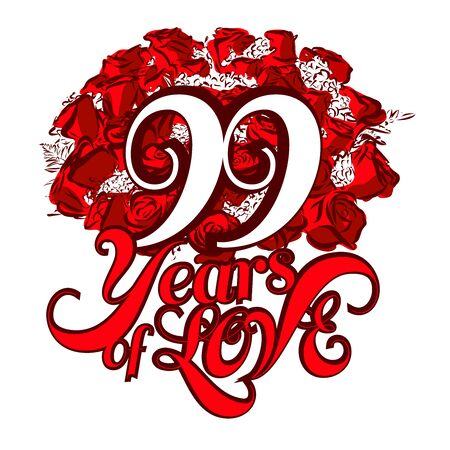 99: 99 Years of Love with nice bouquet of roses, Invitation Card Design, Hand Drawn Vector Artwork Illustration