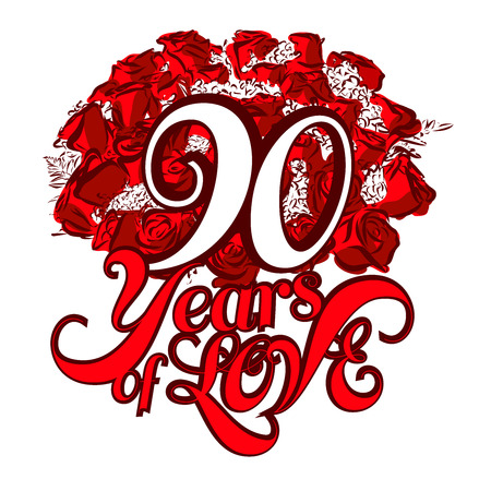 90 years: 90 Years of Love with nice bouquet of roses, Invitation Card Design, Hand Drawn Vector Artwork Illustration