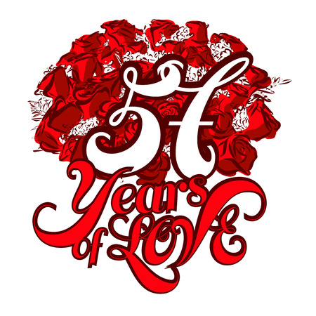 57: 57 Years of Love with nice bouquet of roses, Invitation Card Design, Hand Drawn Vector Artwork